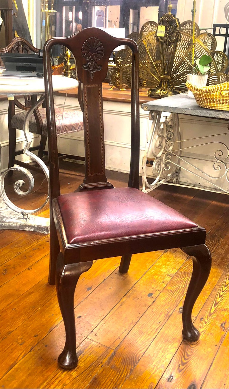 Set 6 '4+2' Antique English Inlaid Mahogany Queen Anne Style Dining Chairs For Sale 4