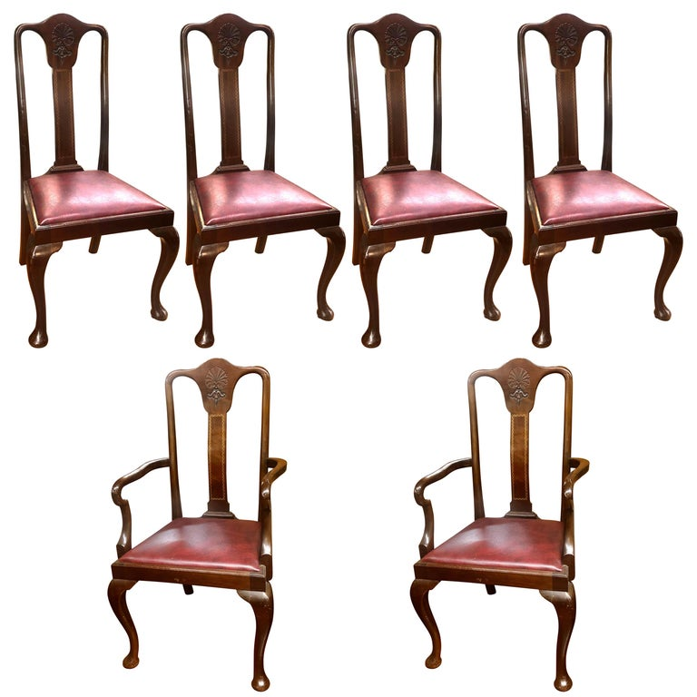 Set 6 4 2 Antique English Inlaid, Queen Anne Mahogany Dining Chairs