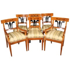 Set 6 Antique Biedermeier Birch and Ebonized Dining Chairs