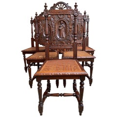 Set 6 Antique French Carved Oak Breton Dining Chairs Brittany Cane Seat