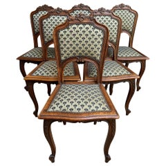Set 6 Antique French Carved Oak Dining Chair Louis XV style Green Upholstery