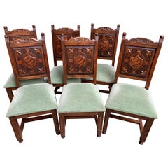 Set 6 Antique French Carved Oak Dining Chair Neo Renaissance Shield 20th Century