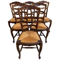 Set 6 Antique French Country Carved Oak Ladder Back Dining Chair Rush Seat