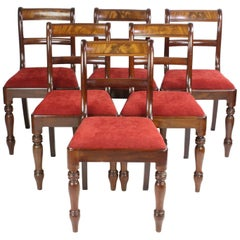 Set 6 Antique Regency Mahogany Dining Chairs Late Georgian Early Victorian