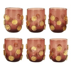 Set 6 Artistic Handmade Glasses Murano Amethyst Glass Gold Details by Multiforme