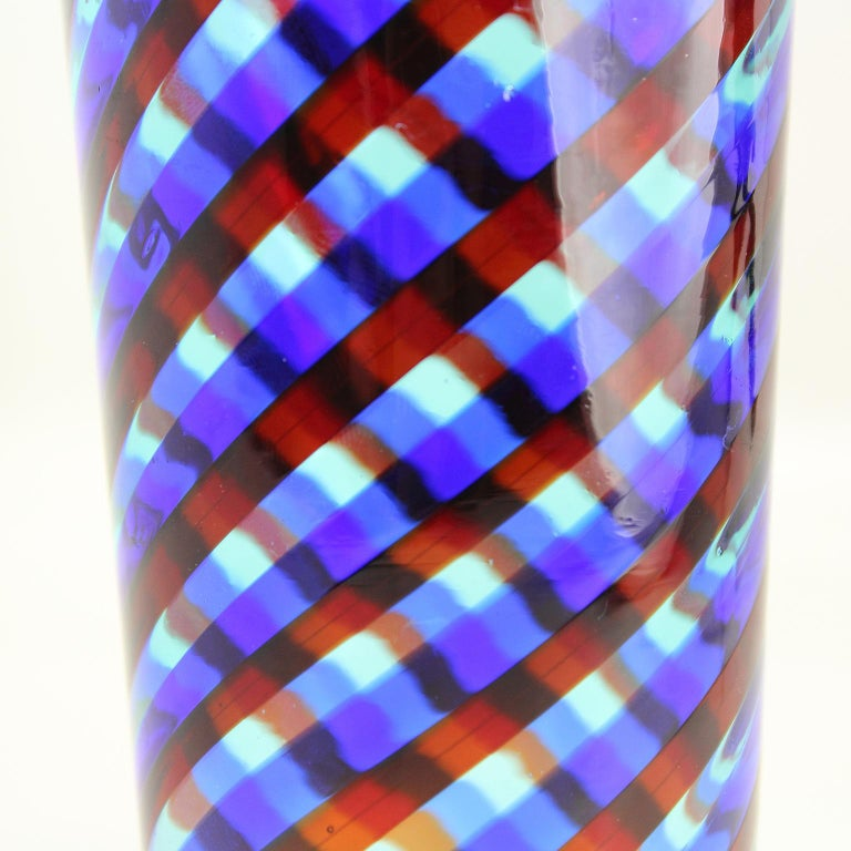 Italian Set of 6 Artistic Handmade Glasses Murano Blue Red Clear Glass Canes, Multiforme For Sale