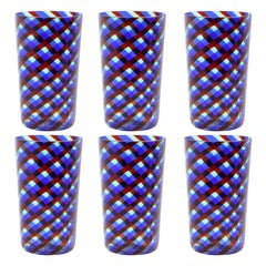 Set of 6 Artistic Handmade Glasses Murano Blue Red Clear Glass Canes, Multiforme
