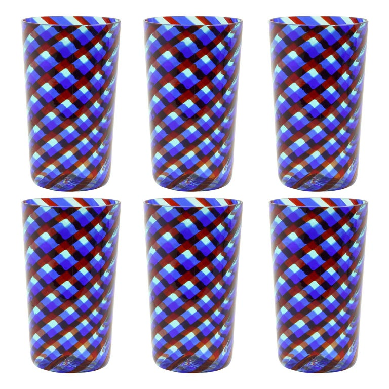 Set of 6 Artistic Handmade Glasses Murano Blue Red Clear Glass Canes, Multiforme For Sale