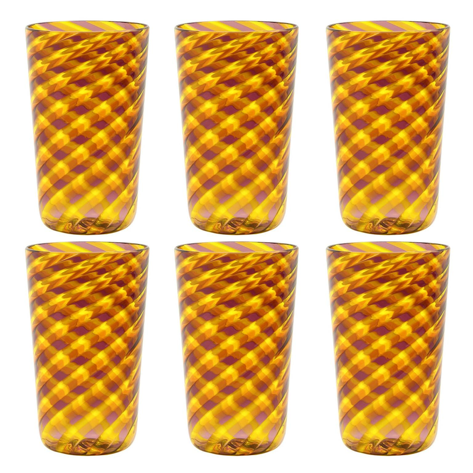 Set 6 Artistic Handmade Glasses Murano Red and Yellow Glass Canes by Multiforme
