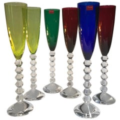 Set 6 Baccarat Crystal Glasses Champagne Flutes in Modern Style Green Red Blue