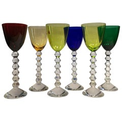 Set of 6 Baccarat Crystal Glasses in Modern Style Green Red Blue