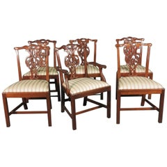 Set 6 Baker Furniture Charleston Collection Chippendale Mahogany Dining Chairs