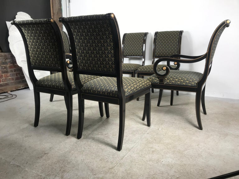 Hollywood Regency Set 6 Black Lacquer and Gold Regency Modern Dining Chairs For Sale