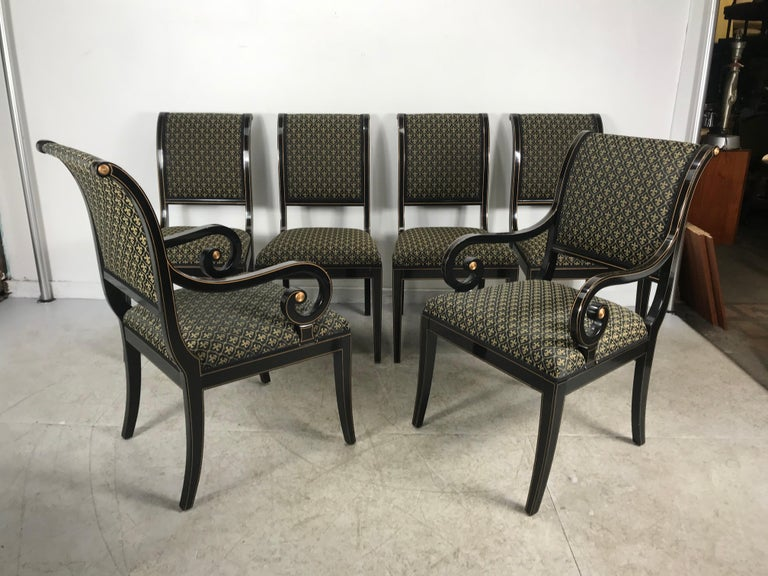 American Set 6 Black Lacquer and Gold Regency Modern Dining Chairs For Sale