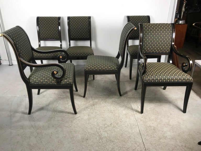 Lacquered Set 6 Black Lacquer and Gold Regency Modern Dining Chairs For Sale