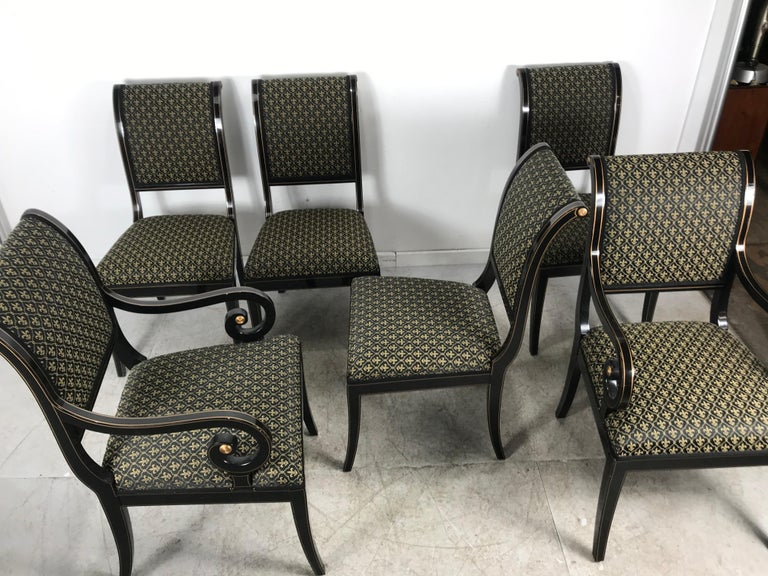 Set 6 Black Lacquer and Gold Regency Modern Dining Chairs In Good Condition For Sale In Buffalo, NY