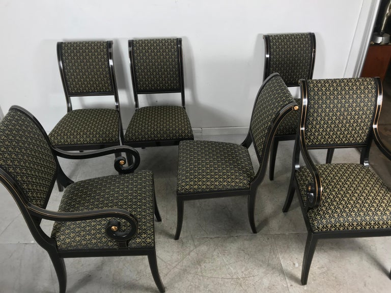 Late 20th Century Set 6 Black Lacquer and Gold Regency Modern Dining Chairs For Sale