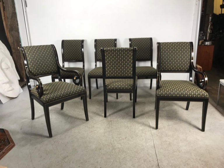 Fabric Set 6 Black Lacquer and Gold Regency Modern Dining Chairs For Sale