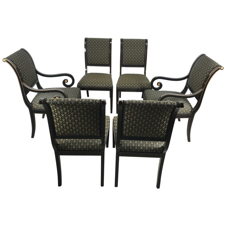 Set 6 Black Lacquer and Gold Regency Modern Dining Chairs For Sale