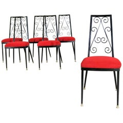 Set 6 Decorables 1967 Selection for Chromcraft Metal Dining Chairs Red and Black
