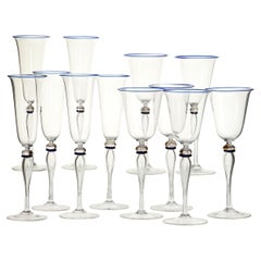 Set 6 Flutes and 6 Stem Glass Cenedese Murano Cobalt and Gold Accents, 80s