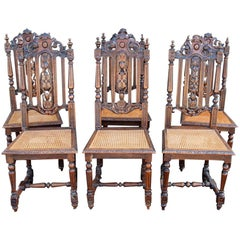 Set 6 French Dark Carved Oak and Cane Side Chairs