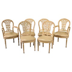 Set 6 French Louis XVI Style White washed Dining Chairs