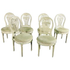 Set 6 French Maison Jansen Louis XVI Painted Balloon Back Dining Chairs