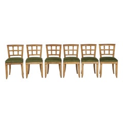 Set 6 French Mid-Century Modern Cerused Oak Dining Chairs