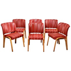 Set 6 Italian Midcentury Bentwood Chairs with Original Red Vinyl Upholstery