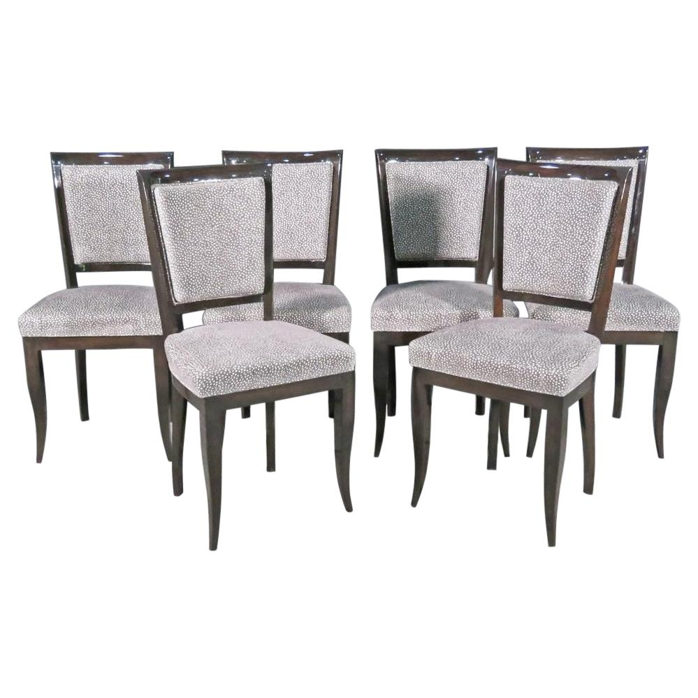 Set 6 Italian Modern Art Deco Walnut Hued Beech Dining Chairs