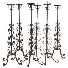 Set 6 Italian Wrought Iron Pricket Sticks, C.1900