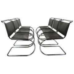 Set 6 Mies van der Rohe MR10 Chairs for Knoll International, black leather