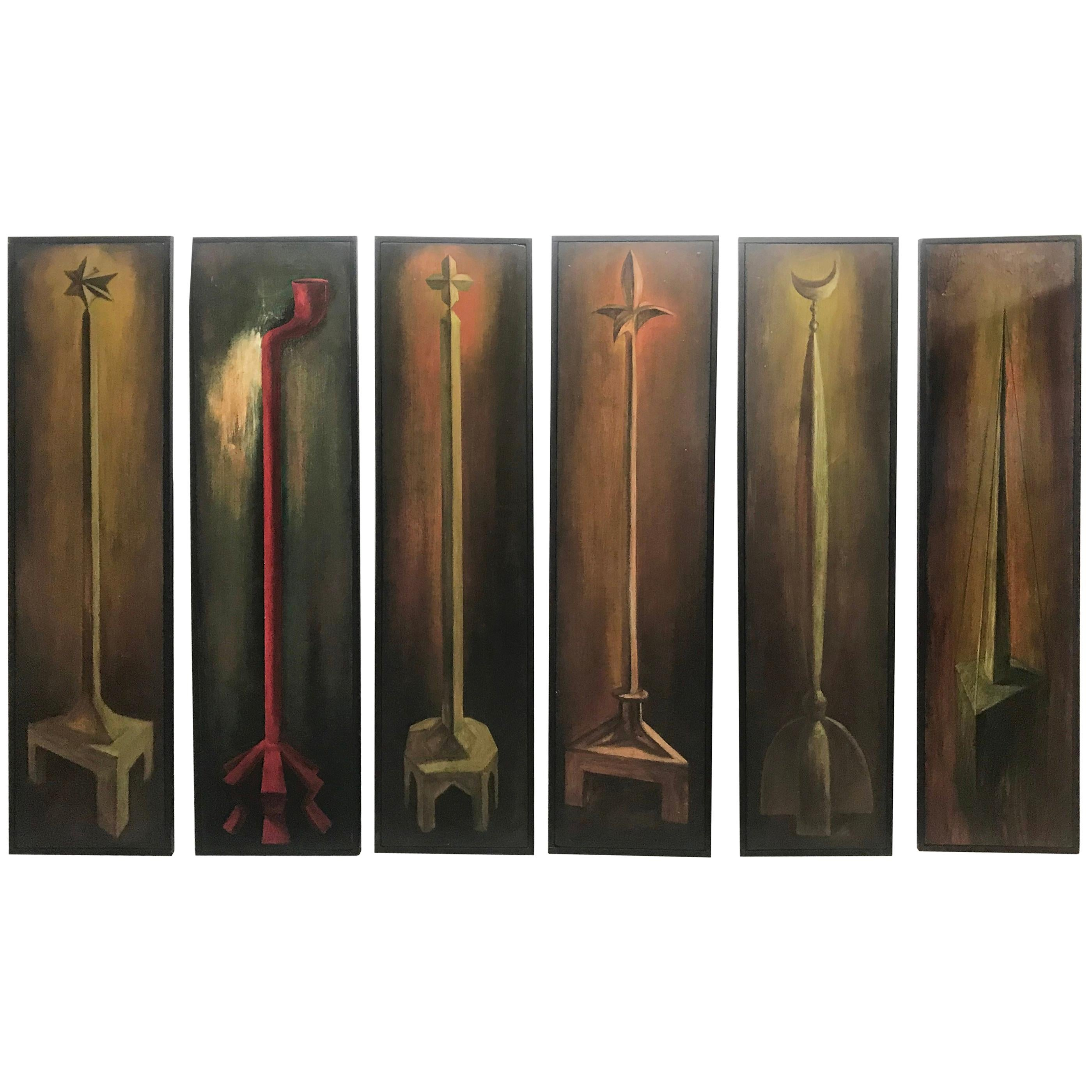 Set of 6 Modernist Folk Art Oil on Wood Paintings Hand Executed by Endi Poskovic