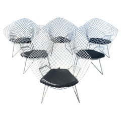 Set 6 Modernist Wire Mesh Diamond Chairs, Harry Bertoia for Knoll