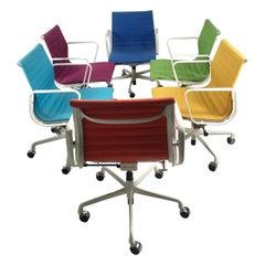 Set 6 Multi-Color Charles Eames Aluminum Group Armchairs, Tilt Swivel