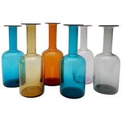 Set aus 6 gefärbten Vasen von Otto Brauer für Holmegaard, 1960er Jahre