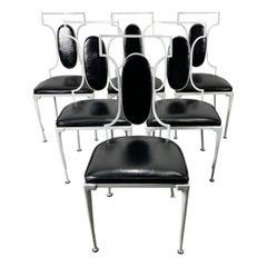 Set 6 Regency Modern Iron and cast aluminum Dining Chairs, Garden