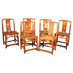 Set of 6 Six Asian Tan Su Style Chinese Camphor Wood Dining Chairs, circa 1890s