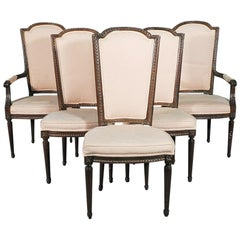 Set of Six Carved Walnut French Louis XVI Tall Back Dining Chairs, circa 1940s