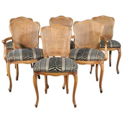 Set 6 Six French Cane Back Upholstered Seat Louis XV Dining Chairs