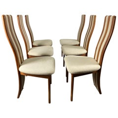 Set of 6 Teak and Fabric High Back Dining Chairs by Korup Stolefabrik / Denmark