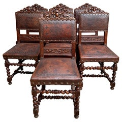 Set of 7 Antique English Carved Oak Dining Chairs Barley Twist Embossed Leather