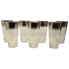 Set/7 Dorothy Thorpe Style Mercury Fade Ombre Cocktail Highball Drinks Glasses