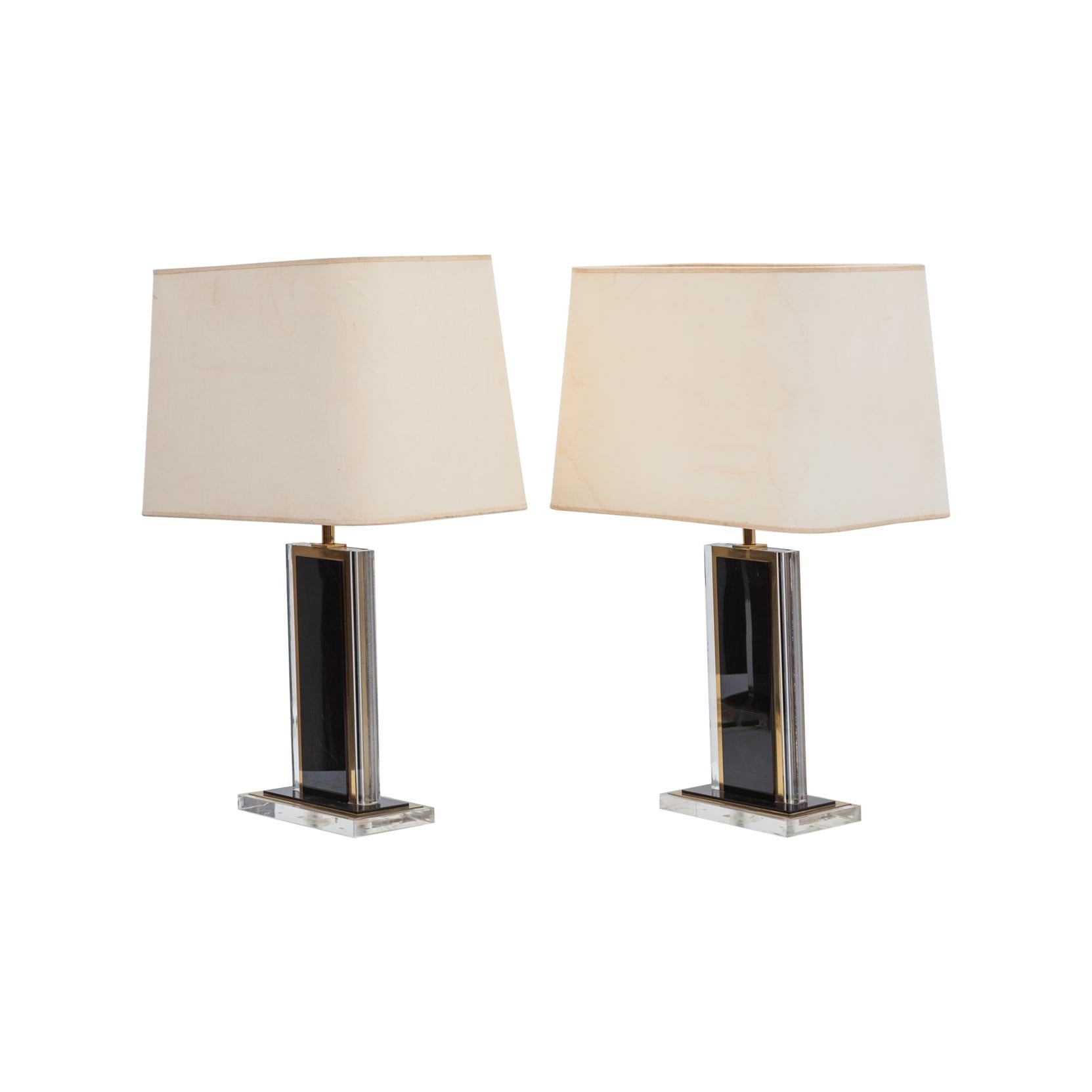 Set of 1970s Black and Clear Lucite and Brass Table Lamps, France