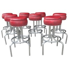 Set 8 Art Deco Stylized Red and Chrome Bar / Counter Stools, Wolfgang Hoffmann
