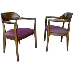 Set 8 Figured Walnut Modernist Armchairs, conference, Gunlocke