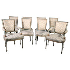 Set 8 French Louis XVI Louis XVI Painted Dining Chairs, Circa 1950