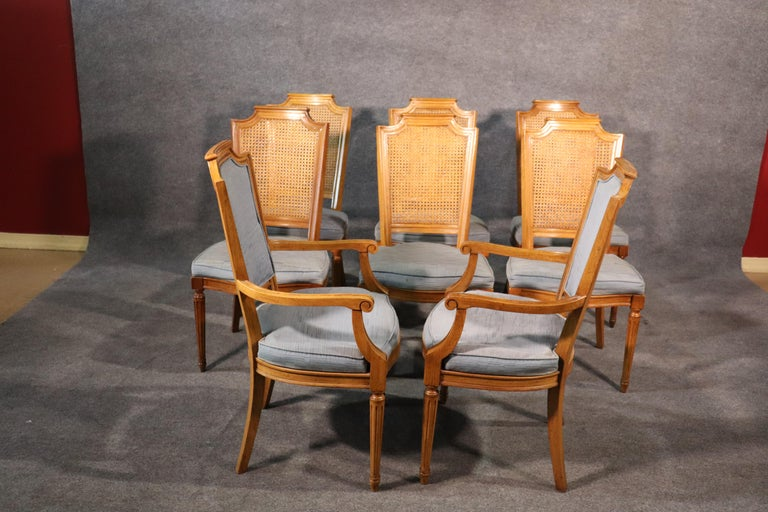 American Set 8 French Louis XVI Style Cane Back Linen Upholstered Dining Chairs For Sale