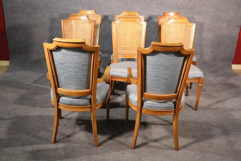 Set 8 French Louis XVI Style Cane Back Linen Upholstered Dining Chairs In Good Condition For Sale In Swedesboro, NJ